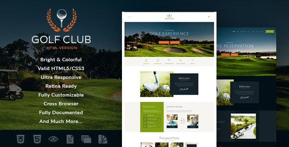 Golf Club   Sports & Events Site Template - Entertainment Site Templates