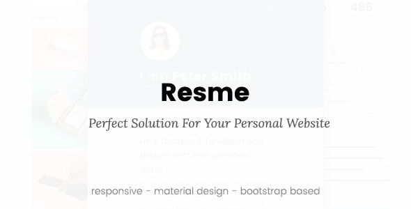 Resme - Responsive Personal Portfolio / Resume / CV / vCard Template - Virtual Business Card Personal