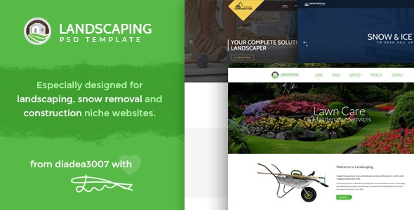 Landscaping - Snow Removal & Construction PSD Template - Creative PSD Templates