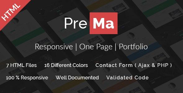 Prema - Personal Portfolio HTML One Page Template. - Personal Site Templates