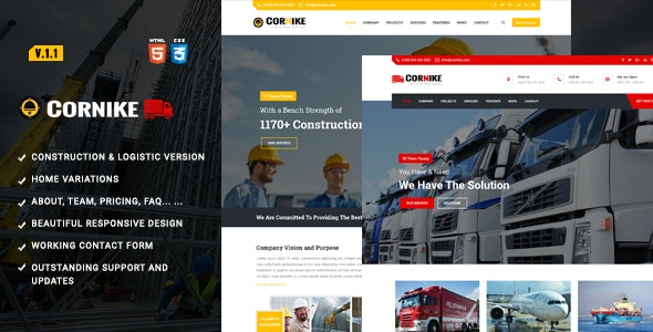 Cornike | Construction Company HTML Template - Business Corporate