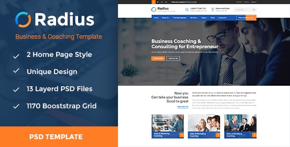 Radius- Coaching & Business PSD Template - Business Corporate