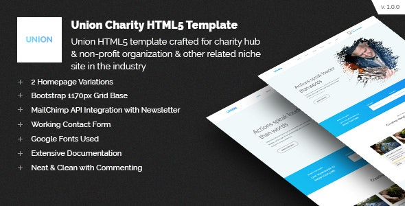 Union Charity Responsive HTML5 Template - Charity Nonprofit