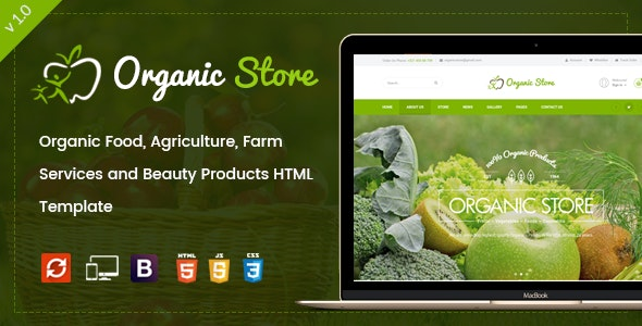 Organic Store - Agriculture and Beauty Products HTML Template - Food Retail