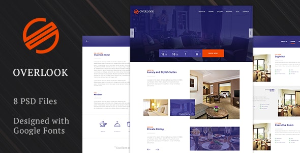 Overlook Premium Hotel Template - Photoshop UI Templates