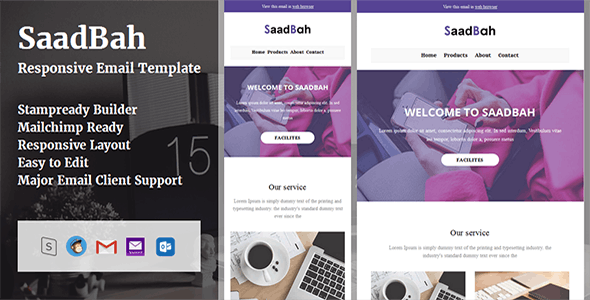 SaadBah - Responsive Email Template + Stampready Builder - Email Templates Marketing
