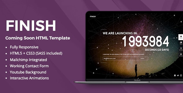 Finish – Coming Soon HTML5 Template - Under Construction Specialty Pages