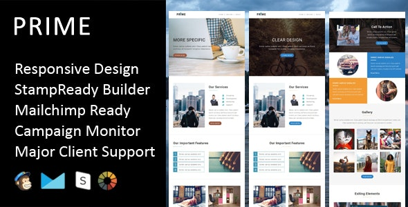 Prime - Multipurpose Responsive Email Template + Stampready Builder - Email Templates Marketing
