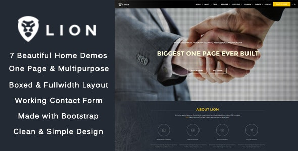 Lion - One Page & Multipurpose HTML Theme - Creative Site Templates