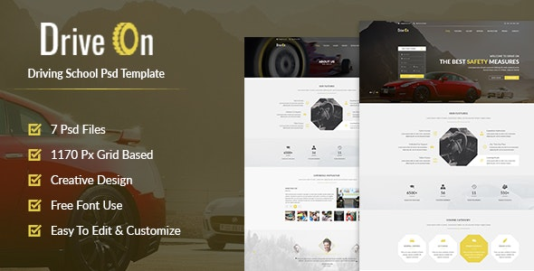 DriveOn - Driving School PSD Template - Business Corporate