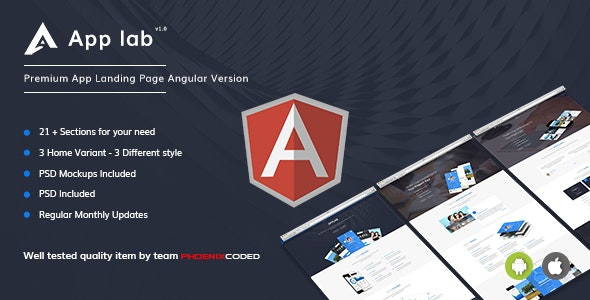 AppLab - Premium App Landing Page Angular Version - Technology Site Templates