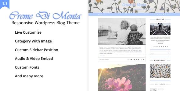 Creme Di Menta - Responsive WordPress Blog - Personal Blog / Magazine