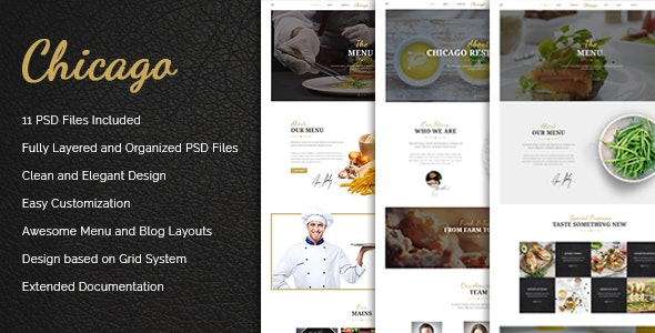 Chicago - Multi-Purpose PSD Template - Restaurants & Cafes Entertainment