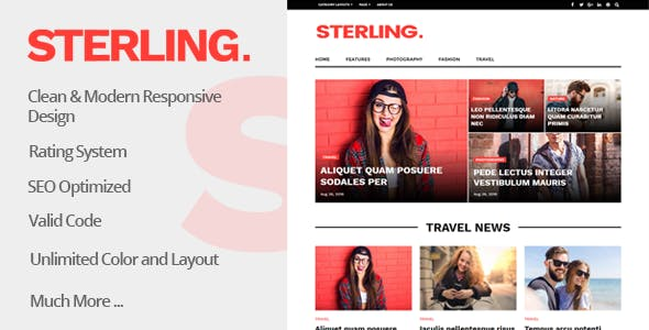 Sterling - News Magazine Blog Responsive WordPress Theme