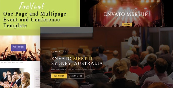 Jonvent - One Page and Multipage Event and Conference HTML Template - Events Entertainment