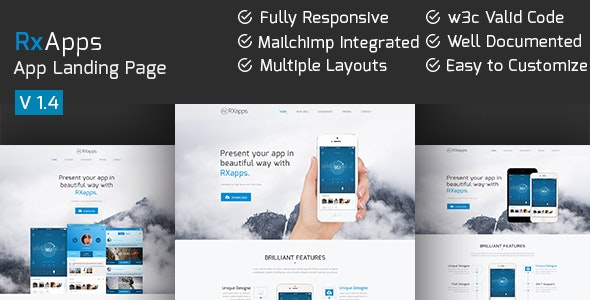 RxApps - Responsive App Landing Page - Apps Technology