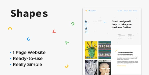 Shapes - One Page Creative Portfolio - Creative Site Templates