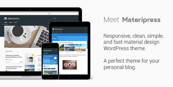 Materipress - Material Design WordPress Theme - Personal Blog / Magazine