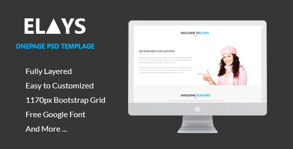 ELAYS – Multipurpose Onepage PSD Template - Photoshop UI Templates