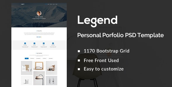 Legend Personal Portfolio PSD Template - Portfolio Creative