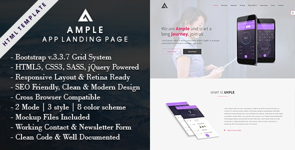 AMPLE - All In One App Landing Page - Apps Technology