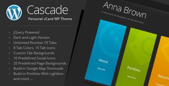 Cascade - Personal vCard WordPress Theme - Portfolio Creative
