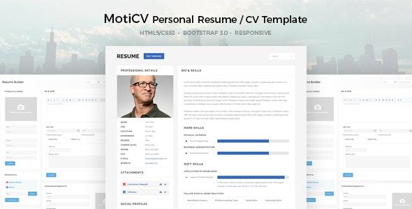MotiCV - Resume / CV HTML5 Template - Personal Site Templates