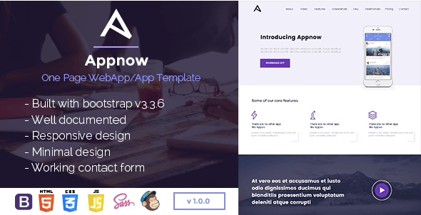 Appnow - One Page WebApp-App HTML Template - Software Technology