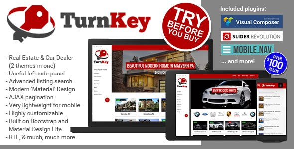 TurnKey Real Estate and Car Dealership Responsive Material Design WordPress Theme