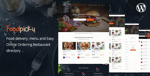 Food Delivery Restaurant Directory WordPress Theme - FoodPicky - Directory & Listings Corporate