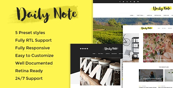 Daily Note - Creative and Responsive Blog Template - Creative Site Templates