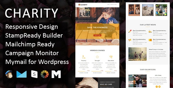 Charity - Responsive Email Template with Online StampReady & Mailchimp Builders - Email Templates Marketing