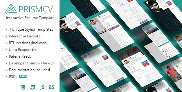 PrismCV - Stylish & Interactive Resume / CV Template - Resume / CV Specialty Pages