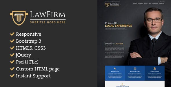 Law Firm – Responsive Single Page HTML Website for Attorney