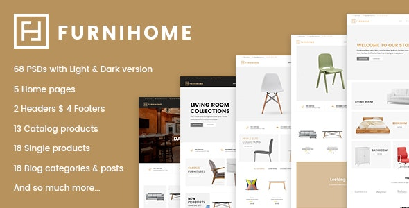 Furnihome - E-Commerce PSD Template for Furniture Store - Shopping Retail