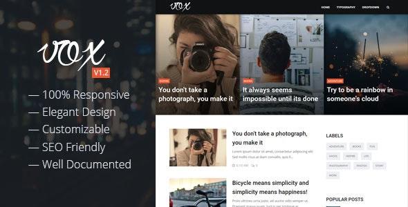 Vox - Responsive Magazine & Blog Blogger Template - Blogger Blogging