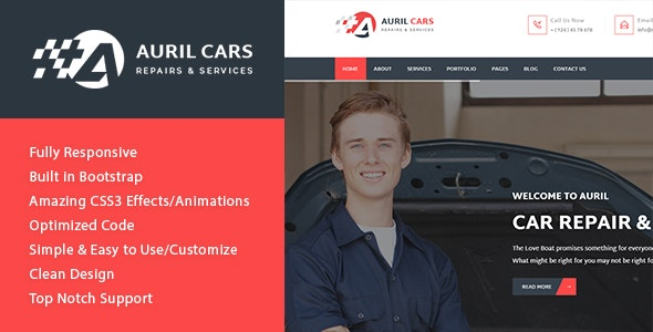 Auril - Car Mechanic Workshop HTML Template - Business Corporate