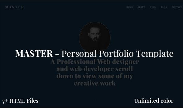 Master - Personal Portfolio Template - Personal Site Templates