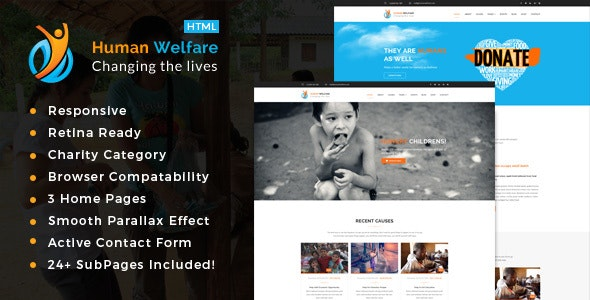 Human Welfare - Responsive HTML Template for Charity & Fund Raising - Charity Nonprofit