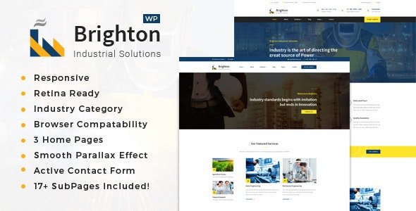 Brighton - Factory and Industry WordPress Theme - Business Corporate