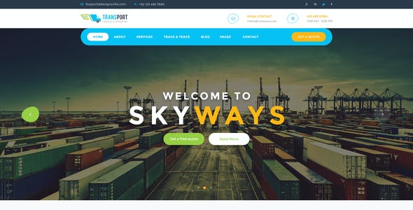 Logistics Management System Website Template from ThemeForest