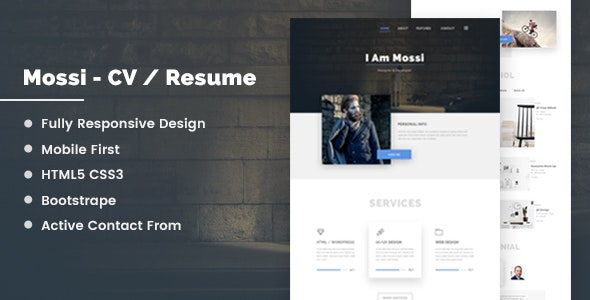 Mossi Personal CV/Resume - Resume / CV Specialty Pages