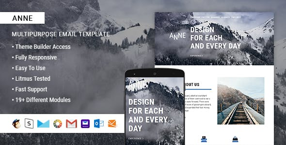 Anne  – Responsive HTML Email + StampReady, MailChimp & CampaignMonitor compatible files