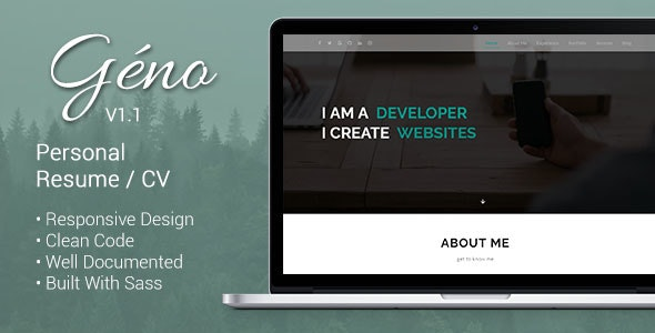 Géno - HTML Personal Responsive Resume / CV - Resume / CV Specialty Pages