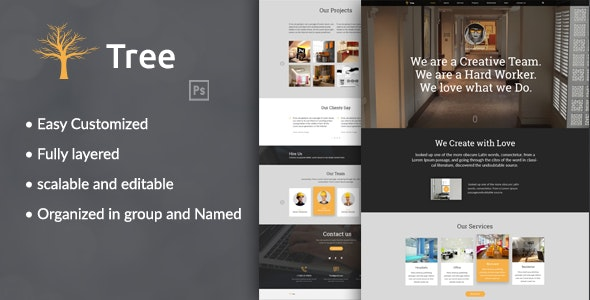 Tree - Interior Design, Architecture Business PSD Template - Corporate Photoshop