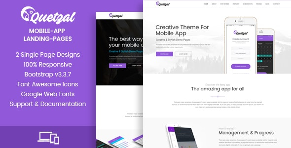Quetzal - HTML App Landing Pages - Landing Pages Marketing