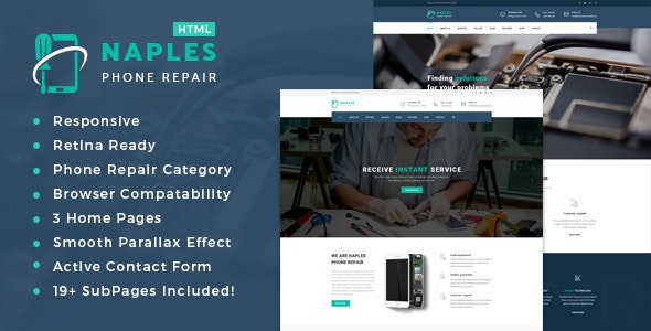 Naples - Phone, Computer Repair Shop Website Template - Computer Technology