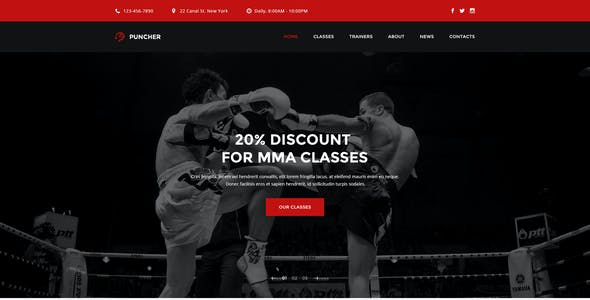 Puncher -  Multipurpose Fight & Boxing PSD Template