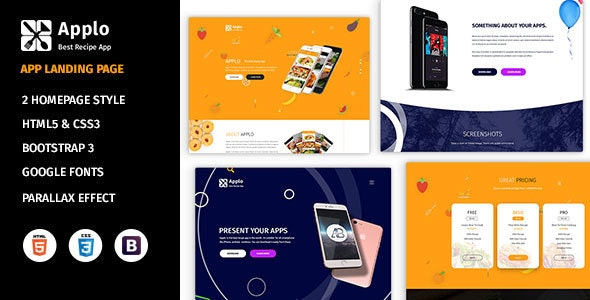 Applo - Application, Product, Food, and Recipe Marketing Landing Page - Apps Technology