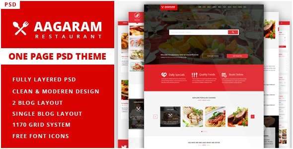 Aagaram - Simple, Clean and Professional One page Restaurant PSD Theme - Restaurants & Cafes Entertainment